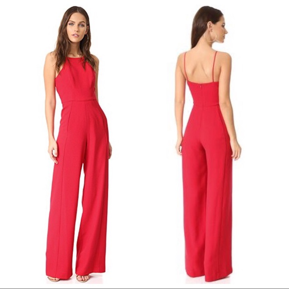 c0a0131ed32 NWT Black Halo Joaquin Jumpsuit Wide Leg Red Sz 4
